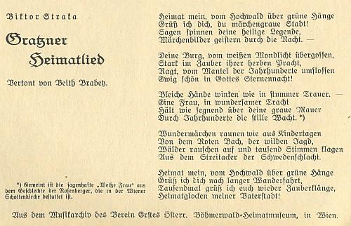 Originál jeho básně, otištěný z archívu vídeňského krajanského muzea Šumavy