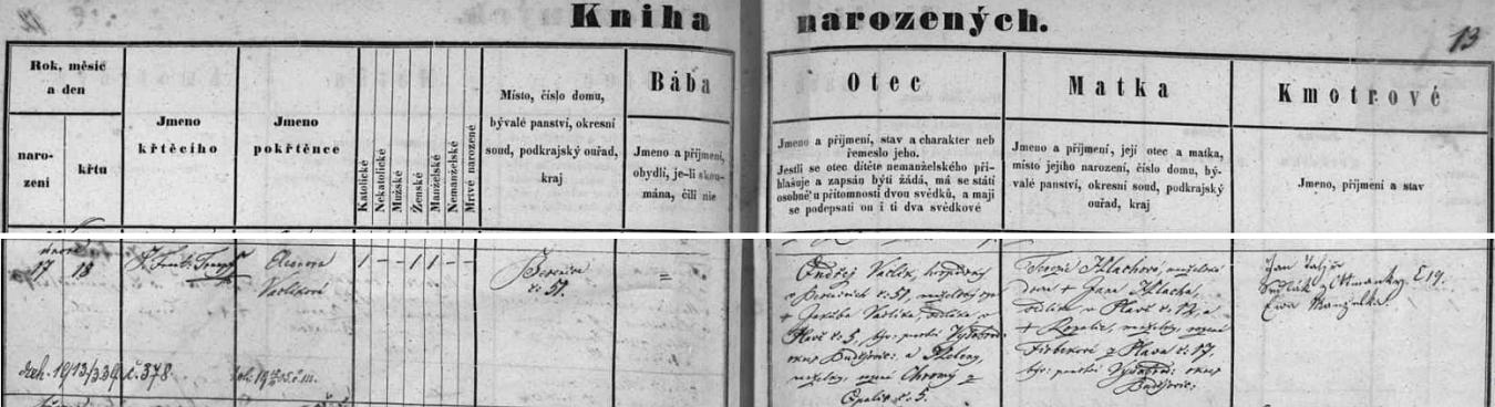 Jeho maminka byla roz. Vaclíková z Besednice čp. 51, kde byl její otec Ondřej, děd spisovatele Watzlika, hostinským, jak je patrno z tohoto českého záznamu besednické křestní matriky