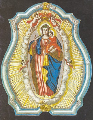 Madona novohradská na oltářním obraze klášterního kostela servitů