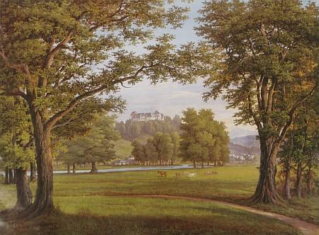 Výhled z parku v Bažantnici na hrad v Nových Hradech, jak jej zachytil někdy v půli devatenáctého století barevným akvarelem Josef Schütz