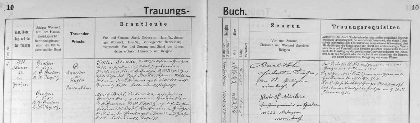 Záznam o její svatbě s Viktorem Strakou v novohradské oddací matrice