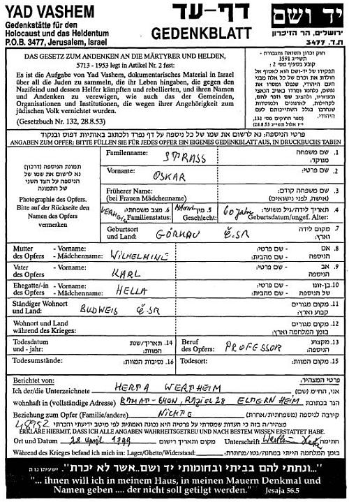 """Jeho pamětní list z jeruzalemského """"muzea holocaustu a hrdinství"""" Yad Vashem"""