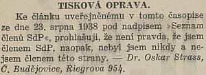 Výmluvné prohlášení v českém listě, který ho v srpnu 1938 mylně uvedl naseznamu členů Sudetoněmecké strany