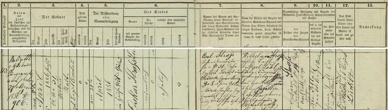 Podle tohoto záznamu jirkovské židovské matriky přišel na svět 8. dubna roku 1884, 21. dubna byl pak obřezán adostal jméno Oskar - novorozencův otec Carl Straß, krejčovský mistr v Jirkově čp. 31, tj. v rodném domě chlapcově, byl synem Veita Straße s Chyší (Chiesch) čp. 8, Chebský kraj (Egerer Kreis), a jeho ženy Miny, dcery Emanuela Fischera z Německého Rohozce (Deutsch Rust, nyní Podbořanský Rohozec), matka dítěte Wilhelmina byla pak dcerou Carla Löbla (rodem z Drmoule /zde Türmaul/, nyní obchodníka v Jirkově) a jeho manželky Rebekky, roz.Schüllerové z Postoloprt (Postelberg) - kmotrem novorozence se stal Ferdinand Straß, svědkem Carl Löbl, obřezání provedl praktický lékař Abraham Pollak
