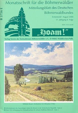 """Jeho obraz """"Srdce Vltavy u Horní Plané"""" zroku 1986, malovaný zřejmě podle staré pohlednice, na obálce krajanského měsíčníku """"Hoam!"""""""