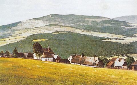Rodné Stodůlky na jeho obraze z roku 1986, malovaném také podle staré pohlednice a darovaném malířovým synovcem Rudolfem Straubem Domu sv. Vintíře v Dobré Vodě u Hartmanic