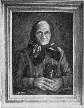 Babička autorova na jeho olejomalbě