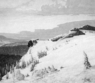"""Černobílá reprodukce malby Zimní večer na hoře Javor se skalním útvarem na úbočí zvaným """"Hlava Richarda Wagnera"""" v pravém dolním rohu s jeho datovanou signaturou..."""