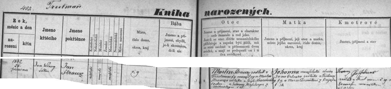 """Český zápis o křtu Jana Strausze z Trutmaně čp. 9 v trhovosvinenské """"Knize narozených"""""""