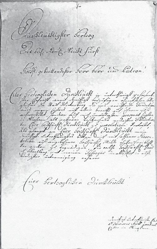 P. Franz Strebl, personální kaplan v Horní Plané, žádá knížete Josefa ze Schwarzenberka opresentaci na nově zřizované druhé kaplanství ve Vimperku
