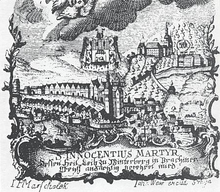 Detail vyobrazení města Vimperka se zámkem na tiskovině k uctění sv.Innocence(1768)