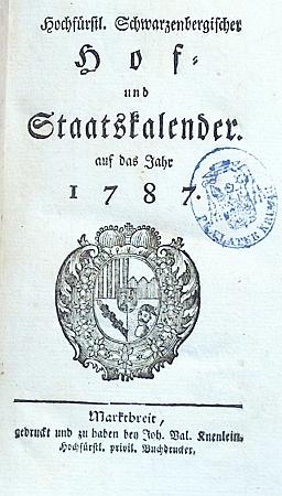 Titulní list první schwarzenberské ročenky.