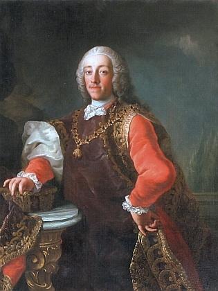 Jeho knížecí dobrodinec Josef Adam, od roku 1754 nejvyšší dvorský maršálek a později i nejvyšší hofmistr Marie Terezie a Josefa II., s řádem zlatého rouna...