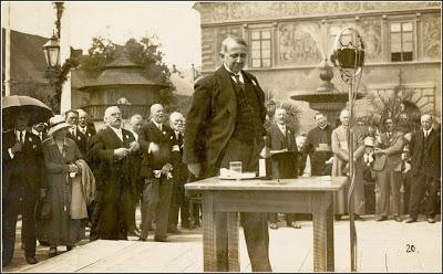 Jeho přípitek rodnému městu při oslavách 800 let založení Stříbra v roce 1931