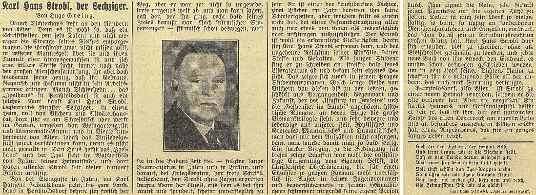 """Pozdrav Hugona Greinze ke Stroblovým šedesátinám na stránkách listu """"Budweiser Zeitung"""""""