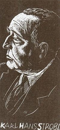 Dřevoryt s jeho podobenkou vyšel ke spisovatelovýmnarozeninám roku1937