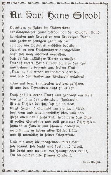 Báseň Hanse Watzlika věnovaná Stroblovi vyšla roku 1938