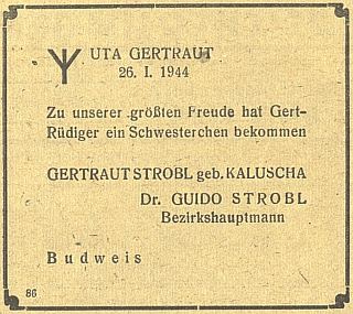 Tady oznamuje narození dcery na stránkách budějovického německého listu