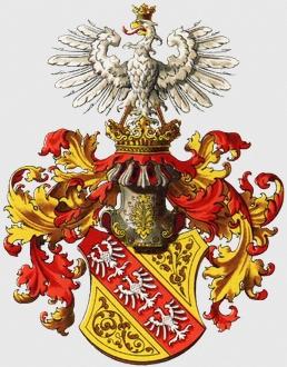 Znak někdejšího vévodství Lothringen (Lotrinsko), kde nalezl smrt, v provedení rakouského heraldika Hugo Gerarda Ströhla (1851-1919)