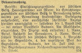 """Asi jeden z nejděsivějších textů na poslední nenápadné straně protektorátních nacistických novin: jím podepsaná výzva těm, kdo mají v opatrování židovský majetek, aby zaslali písemný seznam s """"bývalými adresami"""" někdejších majitelů"""