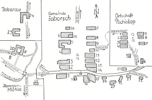 Plánek samoty Doubrava, Záhoří a Příslopu (viz i Rudolf Erhart)