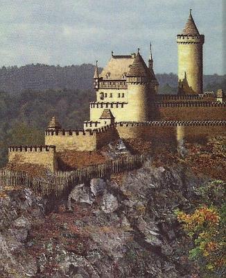 Rekonstruovaná podoba velešínského hradu, založeného Přemyslem Otakarem I. v letech 1215-1230