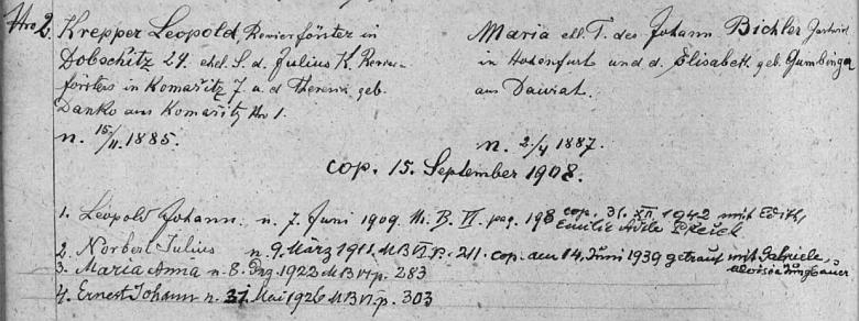 """Rodina Leopolda Kreppera na stránkách """"rodového katastru"""" strýčické matriky"""