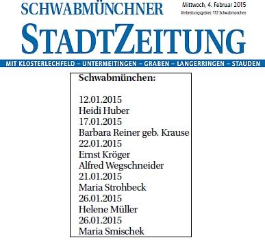 V seznamu zemřelých v lednu 2015 na stránkách místního tisku