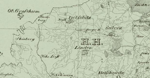 """Výřez ze staré mapy zachycuje Dobčice i s jejich myslivnou a hájovnou na území označeném písmeny """"H. H."""" vevýznamu """"vyšebrodské panství"""" (""""Hohenfurter Herrschaft"""")"""