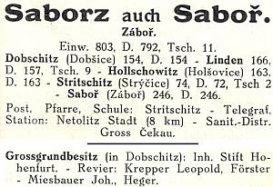 Záznam v Chytilově adresáři z roku 1915 už uvádí jako lesního v Dobčicích jejího otce
