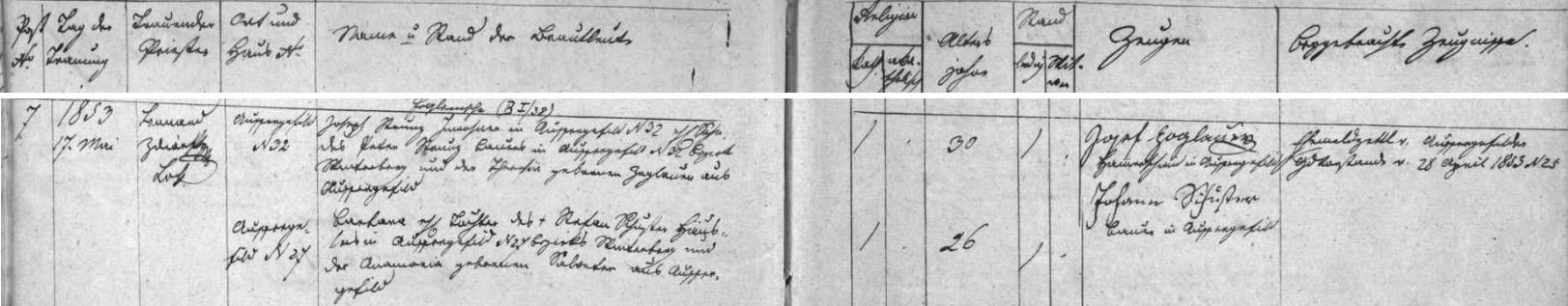 Záznam kvildské oddací matriky o otcově prvé svatbě s Barbarou, roz. Fuchsovou