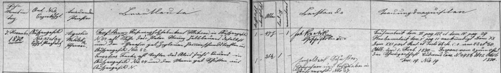 Záznam kvildské oddací matriky o otcově druhé svatbě s Ernestinou, roz. Schusterovou