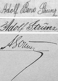 Nedůvěryhodně odlišné jsou tři varianty jeho podpisů z kvildských křestních matrik z let 1891 a 1894 a archu sčítání lidu z roku 1900
