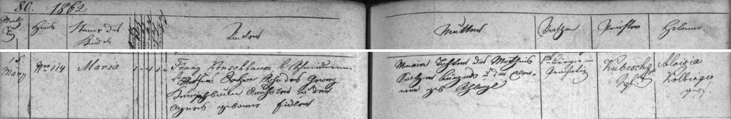 Záznam prachatické křestní matriky o narození jeho ženy Marie