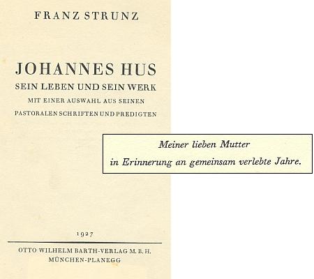 Titulní list jeho knihy v nakladatelství Otto Wilhelm Barth avěnování matce