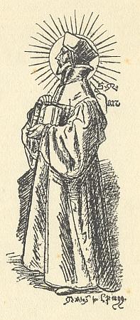 Reprodukce kresby Mikoláše Alše zroku 1899 knihu uvádí