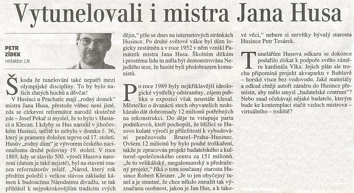 """... a velice """"český"""" komentář ke kauze Husova """"rodného domu""""..."""