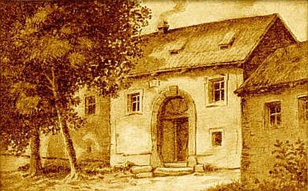 Husův rodný dům v Husinci před požárem na konci 19. století...