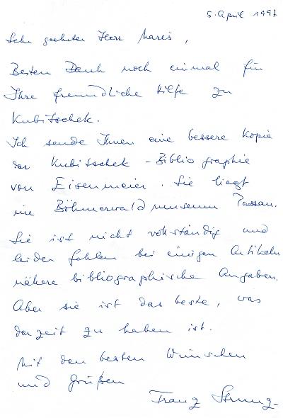 Jeho dopis z dubna 1997 a obálka jiného z prosince 2002, naníž mne dojímá ta bezchybná adresa knihovny