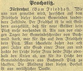 """A teď """"něco pro zasmání"""": v září 1923 referuje českobudějovický německý list """"ze spolehlivého pramene"""", že hřbitov v Knížecích Pláních je přeplněný a když zemřel obecní písař v sousední Bučině, museli ve dva roky starém hrobě jedné ženy uříznout její mrtvole nohy, aby se písař vešel"""
