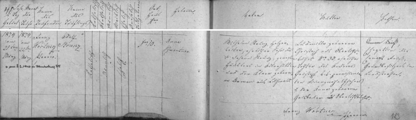 Záznam o narození a křtu jeho otce v matrice farní obce Kunžvart (dnes Strážný, ovšem bez kostela a fary) s přípisem o datu jeho úmrtí