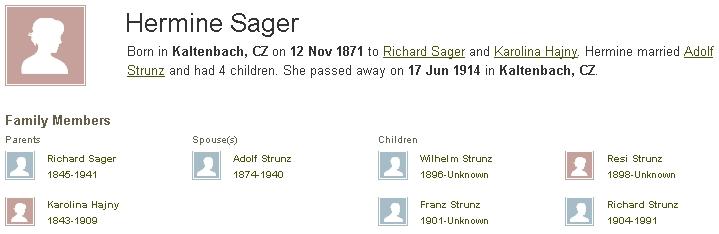 Záznam genealogického serveru o jeho matce, jejích rodičích, manželovi a dětech, tedy i o něm