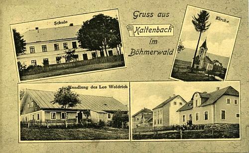 Na pohlednici Nových Hutí z přelomu 19. a 20. století je vidět i škola, kde učil jeho otec