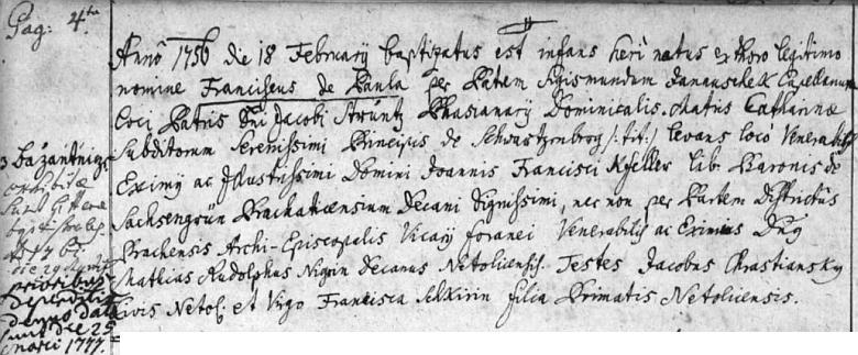 Zápis o jeho narození a křtu v netolické matrice