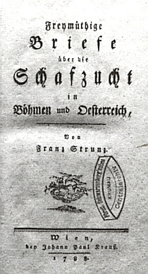 Titulní list (1788) jeho knihy ochovu ovcí v Čechách avRakousku