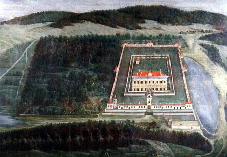 Veduta Jindřicha de Veerle zachytila zámek Kratochvíle přibližně 100let před jeho narozením