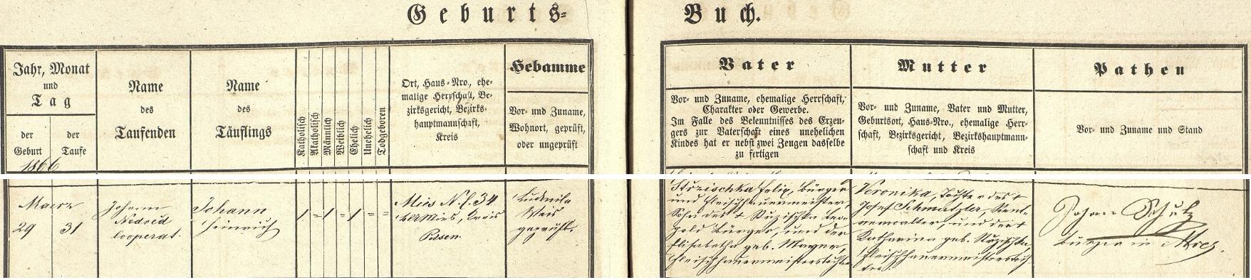 Záznam o jeho narození a křtu v křestní matrice města Stříbra