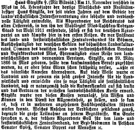 Nekrolog ve vídeňském tisku