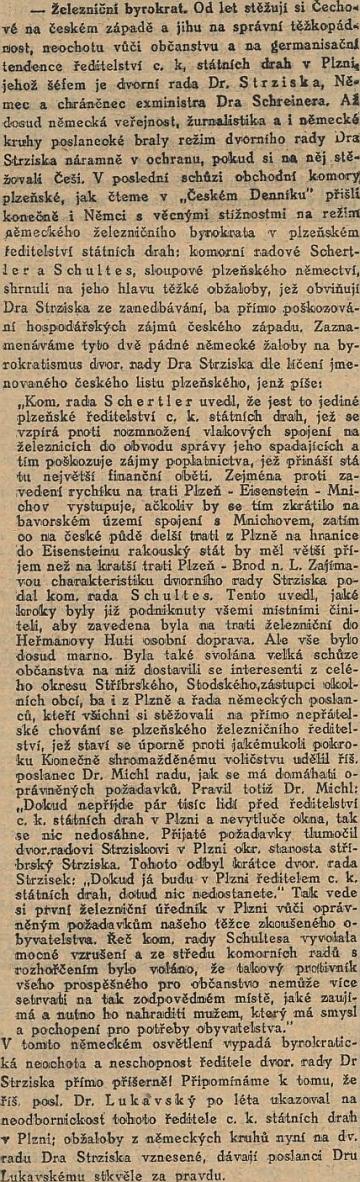 """Kritický článek Národních listu o něm jej představuje jako """"Němce a chráněnce exministra Dra Schreinera"""""""