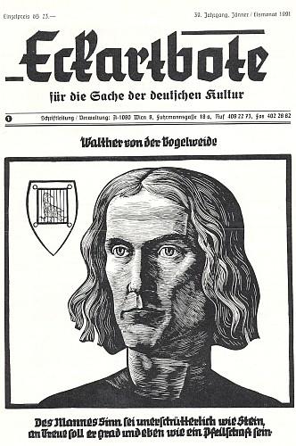 """Obálka jím založeného (1959) časopisu spolku Österreichische Landsmannschaft a vpravo vedle znak spolku, který je zároveň znakem tzv. """"Německého školského sdružení"""" pro podporu  německého školství ve smíšených oblastech Rakouska a pro krajany v zahraničí"""